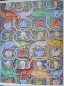 1. Iniciála L na počátku evangelia sv. Matouše, fol. 2r, Evangeliář Jana z Opavy, sign. 1182, 1368, Österreichische Nationalbibliothek Wien. Reprofoto: Jiří Fajt (ed.), Císař Karel IV. 1316 – 2016 (pr. výst.), Praha 2016, s. 6.